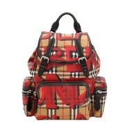 【Go時尚】BURBERRY 戰馬 塗鴉 VINTAGE 塗鴉格紋 後背包(紅色/中款)