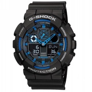 【CASIO 卡西歐】G-SHOCK 指針數位雙顯系列/51mm/黑x藍(GA-100-1A2)