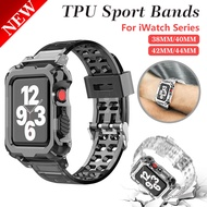 Newest Clear Band + Case for Apple Watch Series 6 SE 5 4 44mm 42mmTransparent for Apple Watch Strap 3 2 1 38mm 40mm TPU Strap