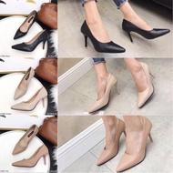 รองเท้าคัชชูหัวแหลมส้นสูง Kitepretty รุ่น K9383รองเท้าคัดชู รองเท้าคัทชู หนัง หญิง ส้นกลมสูง องเท้าดำ รองเท้าชุมชน รองเท้าพยาบาล รองเท้าส้นเตี้ยหัวตัด แบบเปิดส้น รองเท้า คัชชูเจลลี่ รองเท้าผู้หญิง สวย นุ่มสบายเท้า