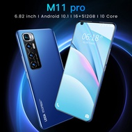 NEW 5G【ORI + Free shipping】M11 pro Android 10.1 Smartphone 16GB RAM + 512GB ROM 6.82inch cellphone Full screen MTK6889 handphone 10-core 4G network 24MP + 32MP mobile phone battery 5600mah m11 pro smart phone