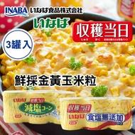 日本 稻葉 鮮採金黃玉米粒 (3入) 600g 玉米粒 玉米罐 玉米罐頭 罐頭 玉米濃湯 鮮採玉米罐 食鹽無添加 減鹽【N103782】