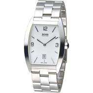 HUGO BOSS手錶 酒桶造型時尚簡易風男錶-白