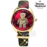 Vivienne Westwood / VV103RDBR /Crazy Bear泰迪熊格紋皮革手錶 紅x金框 38mm
