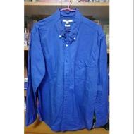Uniqlo深藍色slim fit長袖休閒襯衫