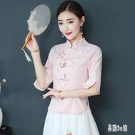 改良旗袍上衣 中國風女裝中式唐裝漢服民國風復古盤扣棉麻茶服