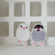 Embroidered brooch Java sparrow