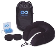 Travel Pillow Set Memory Foam Nap U-shaped Neck Pillow with Soft Pillow Cover, Sleep Eye Mask and  Earplugs