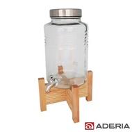 【ADERIA】日本進口時尚飲料桶  5L (不鏽鋼水龍頭附原木架)