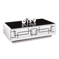 F05 278-1幾何白色二抽黑玻大茶几/8mm強化黑色烤漆玻璃