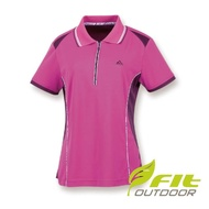 【Fit 維特】女-吸排抗UV咖啡紗短袖POLO衫-紫紅 HS2101-65(抗UV/POLO衫/吸濕排汗)
