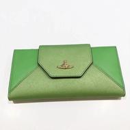 Vivienne westwood 新款少見綠色分離式牛皮十字紋長夾正品