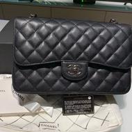 二手 極新 Chanel jumbo 30cm coco雙蓋荔枝黑銀鍊包