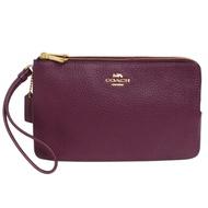 COACH紅莓紫荔枝紋全皮拉鍊雙層大款手拿包