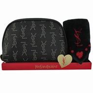 【YSL】愛心方巾+化妝包禮盒(黑色)
