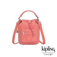 【KIPLING】粉嫩珊瑚橘都會多用途水桶手提側背包-VIOLET S