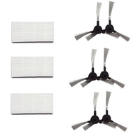 3pcs hepa filter + 6pcs Side Brushes Robot Vacuum Cleaner Parts HEPA Filter for Proscenic 790T HAPP2