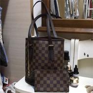 正品LV Louis Vuitton M42240 棋盤格子母水桶包
