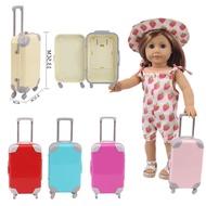 15 รูปแบบสีพลาสติกเลื่อนกระเป๋าเดินทางสำหรับ 18 นิ้วตุ๊กตาอเมริกัน & 43 ซม.ใหม่เด็กทารกรุ่นสาวร...