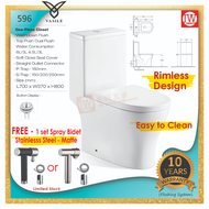 V596 | One-Piece S Trap / P Trap Rimless Toilet Bowl With Soft Close Cover *FREE Stainless Steel Spray Bidet* (Vasile)