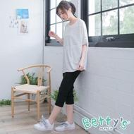 【betty's 貝蒂思】純色口袋剪接彈性七分褲(黑色)