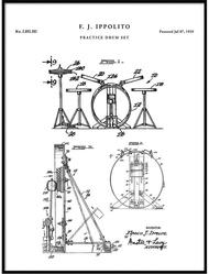 Drum Set Canvas printing, Patent Prints, Drum Set Patent, Drum Set Print, Drum Set Art, Drum Set Decor, Drum Set Wall Art, Drum Set Blueprint, QP488 Inner Framed