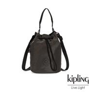 Kipling 沉穩霧黑色大容量手提兩用水桶包-LABI