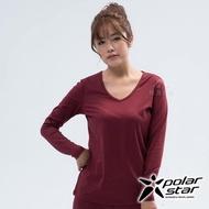 【PolarStar 桃源戶外】女 遠紅外線V領保暖衣『棗紅』 P18248(休閒 登山 機能衣 保暖衣 衛生衣 家居服)