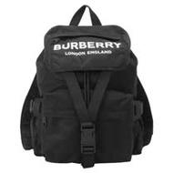 BURBERRY 徽標印花LOGO素面尼龍後背包(黑)