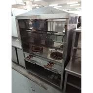 餐飲設備【吉林二手貨F1800001】7成新 兩口炒台抽油煙機 餐廚設備 精緻吧台 兩口不銹鋼攤車