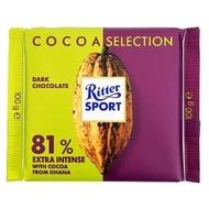 【Ritter Sport】力特律動81%迦納可可豆巧克力 100g
