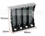 【鋰鐵鋰】 4顆 18650電池盒 ABS外盒+ 彈片接點 非彈簧 鉚釘