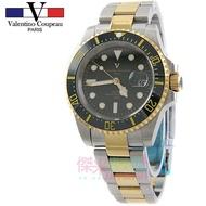 【JAYMIMI傑米】Valentino  古柏不鏽鋼腕錶-日本機芯防水錶 中金綠水鬼陶瓷外框水鬼錶 #范倫鐵諾
