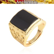 916 Gold Dragon and Phoenix Men's Open Agate Ring
