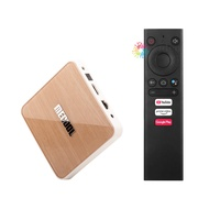 V&G MECOOL KM6 DELUXE Smart Android 10.0 TV Box UHD 4K Media Player Amlogic S905X4 4GB/64GB 2T2R 2.4G/5G WiFi Voice Remote Control Google Certificated AV1 H.265 VP9 Decoding BT5.0