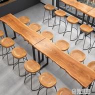 吧台桌實木高腳桌椅酒吧奶茶咖啡廳長條桌椅組合鐵藝家用靠墻邊桌