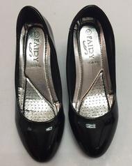รองเท้าคัชชู ส้นใหญ่สูง 2 นิ้ว รุ่น 1154-1B  หนังแก้วซับดำ