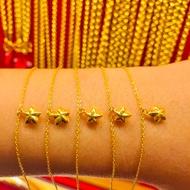 ข้อมือทองคำแท้ นำ้หนัก 1 กรัม  ลายดาว ทองคำแท้ 96.5% มีใบรับประกันสินค้า น้ำหนักเต็ม ราคาโดนใจ
