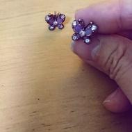 [現貨]Anna Sui 安娜蘇 紫色珐瑯及水鑽耳環 💯正貨