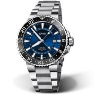 ORIS AQUIS GMT 時間之海 雙時區日期潛水錶-43.5mm藍面/鋼帶