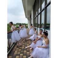 訂做款芭蕾舞裙成人蓬蓬裙天鵝湖芭蕾舞蹈裙紗裙白蓬蓬袖出表演服