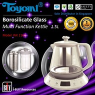 [IBuy] = TOYOMI Borosilicate Glass kettle 1.5L [Model: WK 1160] 100% Satisfaction / 1 Year Warranty