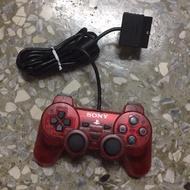 PS2 原廠 手把 9成新 稀有 透明紅