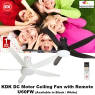 KDK DC Motor Ceiling Fan with Remote - U60FW (Available in Black / White) (1 Year Warranty)