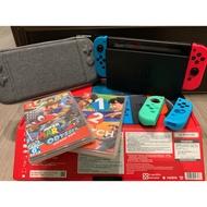 【二手現貨】 Nintendo Switch 紅藍電力加強版主機+4遊戲 僅台南、高雄面交