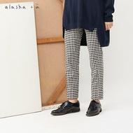 a la sha+a弧形剪接顯瘦格子合身褲