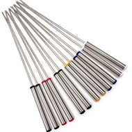 A.UTEN 12 Pieces Stainless Steel Fondue Forks with Heat Resistant Handle,Color Coding Cheese Fondue Forks for Cheese Chocolate Fondue Roast Marshmallows