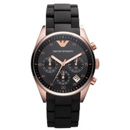 Emporio Armani_Classic Collection Women's Quartz Watch with Black Dial Analogue Display and Black Rubber Strap AR5906