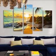 壁畫噴繪油畫五聯沙灘日落