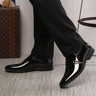 Leather Mens Business Dress Shoes รองเท้าหนังชาย รองเท้าคัชชู พื้นเย็บ สีดำ